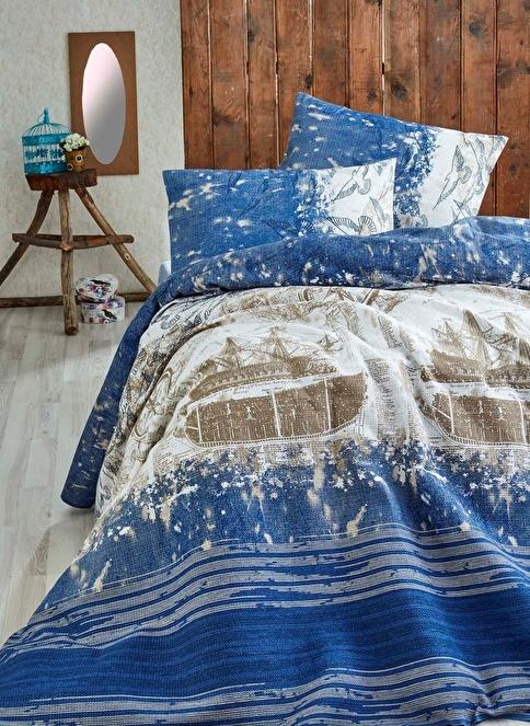 Eponj Home Çift Kişilik Pike Mavi